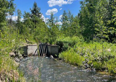 Ditch with water running through culvert.