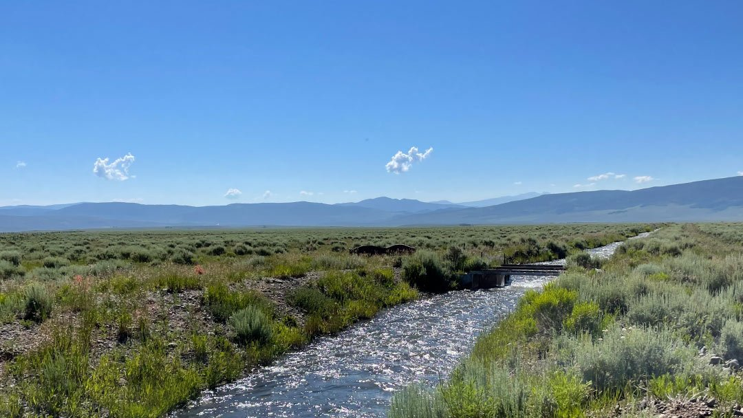 Stillwater ditch with mountains in the background.