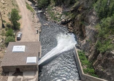 Looking down on water release from Stagecoach dam.